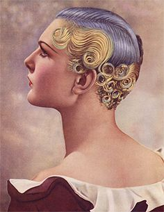 In 1935 a show of perm hairstyles was performed in London, the Hairdressing Fashion Show, and the First Prize was a perm made with an ICall Machine of that time. It shows a very short hair, bicolor tincture, and an elegant design with a typical art-deco style.