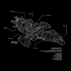 Serenity Firefly Ship Schematic - TShirtVortex  I love this too; I may actually prefer this one.