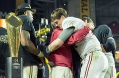 Alabama head coach Nick Saban celebrates with Alabama quarterback Jake Coker after their victory over Clemson in the College Football Playoff National Championship football game, Monday, Jan. at University of Phoenix Stadium in Glendale, Ariz. College Football Championship, Cfp National Championship, Championship Game, Clemson Baseball, Twins Baseball, Alabama Football, Clemson Tigers, Crimson Tide Football, Alabama Crimson Tide