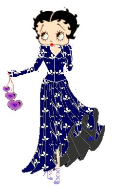 BETTY BOOP in BLUE GOWN WITH FLOWERS HOLDING PURPLE HEARTS...