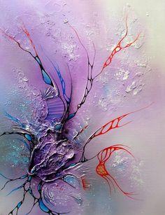 tableau abstrait moderne acrylique en relief sur toile 46cm : Peintures par tableaux-abstraits-nathalie-robert