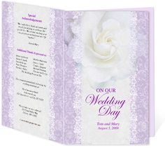 Letter Single Fold : Forever Wedding Program Templates. Edits easily and quickly in Word, OpenOffice, Publisher, and Apple iWork Pages.