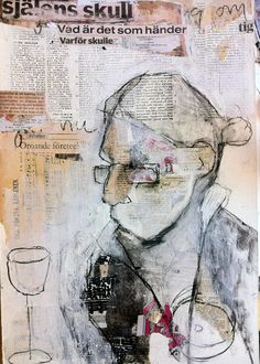 could do monoprint on collage Collage Kunst, Collage Art, Painting Collage, Acrylic Paintings, Kunstjournal Inspiration, Art Journal Inspiration, Figure Painting, Painting & Drawing, Arte Yin Yang