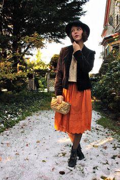 boho skirt. velvet jacket. hat.
