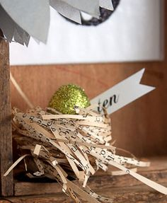 How to make book page bird nests with glitter eggs.