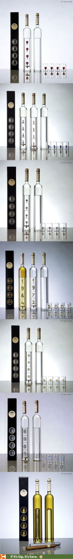 The Geschenkartikel collection from Studer consists of free-blown glass bottles of Grappa, Williams and Kirsch, that come with with 4 hand-crafted glasses that fit into the bottle in presentation boxes.   Choose from Heart, Fruit, Poker, Edelweiss, Anniversary, Football (Soccer) or the Special Cigar version that includes a removable handmade cigar from the Dominican Republic.