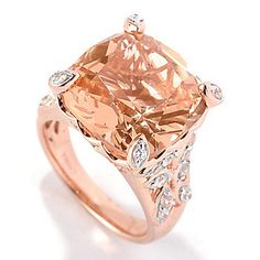 Brilliante® 18K Rose Gold Embraced™ Cushion Cut Simulated Morganite Ring