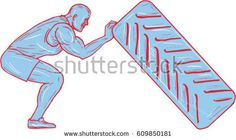 Drawing sketch style illustration of an athlete working out knees bent pushing back tire viewed from the side set on isolated white background.   #athelete #sketch #illustration