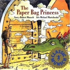 "The Paper Bag Princess by Munsch, Robert. Recommended age 3 - 8. Princess Elizabeth is slated to marry Prince Ronald when a dragon attacks the castle and kidnaps Ronald. In resourceful and humorous fashion, Elizabeth finds the dragon, outsmarts him, and rescues Ronald --- who is less than pleased at her un-princess-like appearance. Maybe her Prince ""Charming"" isn't a part of her ""happily ever after"" after all. ""A charmingly-illustrated tale of strength for princesses of all ages."""