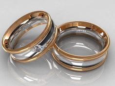 Roze-, and white gold wedding rings with diamond