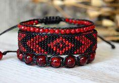 Set of 3 Boho Bracelets Red and Black by HandmadeGiftsStore Loom Bracelet Patterns, Bead Loom Bracelets, Bead Loom Patterns, Bracelet Crafts, Black Bracelets, Jewelry Patterns, Beaded Jewelry, Handmade Jewelry, Bracelet Tutorial