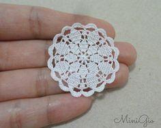 Miniature crochet round doily 1.4 inches, dollhouse crochet tablecloth, 1:12 dollhouse miniature, white small doily micro crochet, model #88