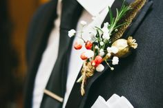 October buttonhole of Rosemary, gold sprayed poopy seed head, pheasant feather, berrries and gypsophilia by BareBlooms Fall Wedding Flowers, Fall Flowers, Cut Flowers, Wedding Car, Wedding Stuff, Wedding Ideas, British Flowers, Gold Spray, Pheasant Feathers