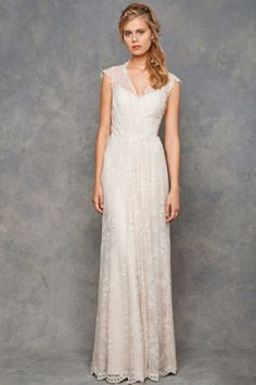 Bridal Gowns: David Fielden Sheath Wedding Dress with V-Neck Neckline and Natural Waist Waistline Plus Size Wedding Gowns, Wedding Dress Sizes, Bridal Wedding Dresses, Wedding Attire, Bridal Gown Styles, Bridal Style, Wedding Dress Shopping, Vintage Bridal, Special Occasion Dresses
