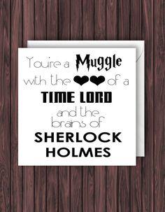 Muggle TimeLord Sherlock. Harry Potter Birthday Card.