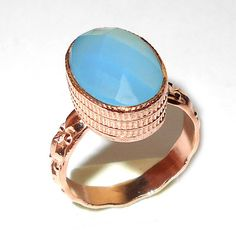 Aqua Blue Chalcedony Ring - Semi Precious Ring - Bezel Ring - Blue Chalcedony Ring - Gold Plated Ring - Handcrafted Rings - Rose Gold Ring  Products