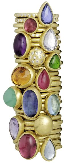 Stephanie Albertson. Stephanie keeps to the heavy bezel set theme in her beautiful range of colored gem rings.