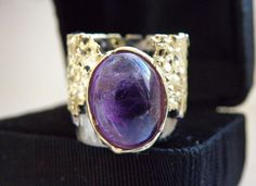 Vintage Sterling Silver 925 18K Gold MODERNIST BRUTALIST Natural Amethyst Ring #Handmade #Statement