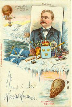 FLY - flott fargekort med motiv av ballongflyveren Andree's flyvning til Nordpolen brukt i 1901.