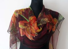 Plum red chiffon scarf. Hand painted flowers silk by TiiuHandCraft