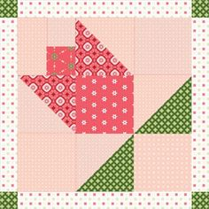 Tulip Block with hanging leaves. This page has an image for a whole quilt layout with these blocks.