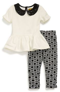 Holiday outfit. Nicole Miller Sequin Top & Leggings (Baby Girls) (Online Only) available at #Nordstrom