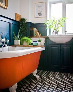 House Tour: A Fabulously Fun & Colourful Family Home Colourful family bathroom with orange claw foot tub Bad Inspiration, Bathroom Inspiration, Family Bathroom, Modern Bathroom, Bathroom Tubs, Bathroom Cabinets, Bathroom Vintage, Master Bathroom, Seashell Bathroom