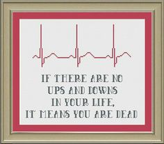 Cross Stitch Heart Beat Ups and Downs