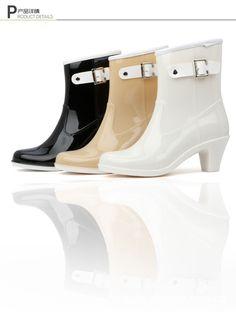 a9e96f3e3e3 Rain Boots Women Waterproof Shoes Ankle Rubber Boots High Heel Rainboots  Plus Size Botines Mujer Femininas