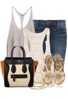 Celine Luggage Small Handbag Multicolour Black Tan Cream