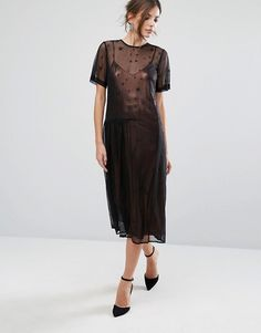 Warehouse Star Embroidered Mesh Dress