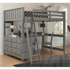 Full Loft Bed with Desk (Stone)