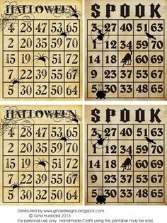 Freebie Friday Vintage Halloween Bingo Cards- Gives the kids number practice. Use candy corn pumpkins to cover letters Halloween Bingo Cards, Vintage Halloween Images, Halloween Scrapbook, Halloween Pictures, Halloween Games, Halloween Party Decor, Holidays Halloween, Happy Halloween, Halloween Ideas