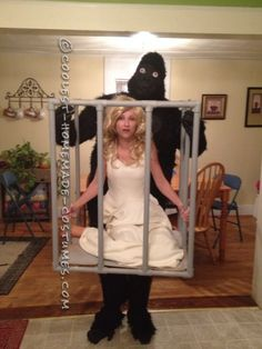 King Kong and a Woman in a Cage Illusion Costume