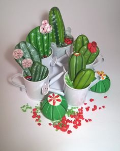 Composition❤ cactus &company – From Parts Unknown Cactus Painting, Pebble Painting, Stone Painting, Rock Crafts, Diy And Crafts, Arts And Crafts, Paper Crafts, Painted Rock Cactus, Painted Rocks
