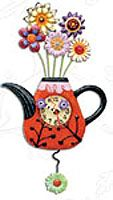 A teapot full of flowers is a beautiful clock - complete with a flower pendulum.