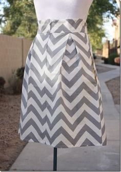 pleated chevron skirt (from Crafty Cupboard using moda half moon modern - yum! But can I really wear chevrons?)