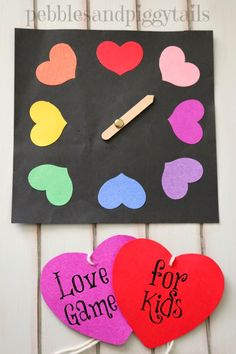 Simple LOVE GAME for Kids. This includes free printable version of the game. Also easy to make at home. Helps kids feel love for their family and teaches kindness and appreciation. Great activity for Valentine's day, school, church, or FHE, or preschool.
