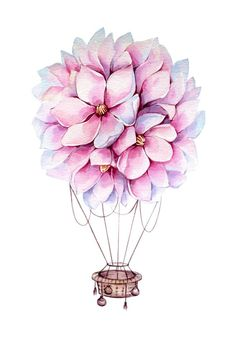 Items similar to Watercolor Magnolia Hot Air Balloon Digital Poster on Etsy Pencil Art Drawings, Art Sketches, Air Balloon Tattoo, Hot Air Balloon, Bild Tattoos, Arte Floral, Cute Wallpapers, Flower Art, Watercolor Art