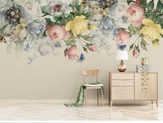 Bedroom Murals, Living Room Bedroom, Wall Murals, Nursery Wallpaper, Of Wallpaper, Large Floral Wallpaper, Wallpaper Paste, Colorful Wallpaper, Fabric Wallpaper