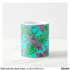 Shop Palm leaf and coleus tropical ice coffee mug created by Butterflybeestro. Tropical Mugs, Tropical Design, Iced Coffee, Coffee Mugs, Fire And Ice, Bathroom Sets, Coral Pink, Photo Mugs, Create Your Own