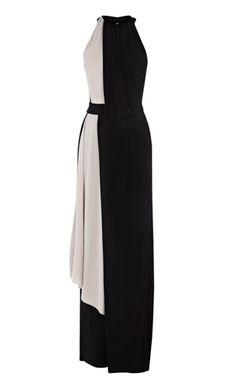 Monochrome draped maxi dress.