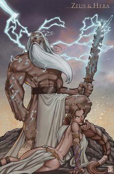 Zeus and Hera by daveswartzart.deviantart.com on @deviantART