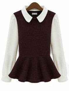 Cute Red Wine Ruffle Blouse