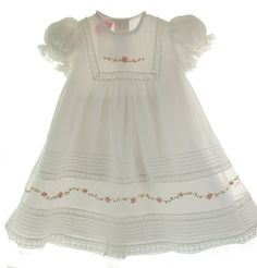 Infant Girls White Embroidered Day Dress - Willbeth - Hiccups Childrens Boutique