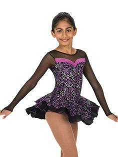 Jerry's Bellissimo Skate Dress ~ glittery velvet in two tone tapestry. Black georgette underskirt w/ orchid trim. Includes matching hair accessory.