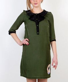 Take a look at this Green Olivia Pepita Bluson Dress by Titis Clothing on #zulily today! $40 !!