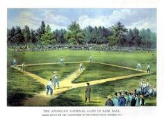 On June 19, 1846, the first officially recorded, organized baseball game is played in Hoboken, New Jersey between the Knickerbockers and the New York Base Ball Club.
