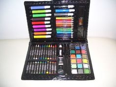 Arts & Crafts for Kids Supplies Set / Trousse De Material D'art by CREATOLOGY MADE IN CHAINA. $14.99. Comprehensive art set. Reusable carrying case. 80 PIECES. Excellent for kids arts . Includes: 18 watercolor pencils, 12 colored markers, 12 colored pencils, 12 colored crayons, 12 oil pastels, 6 paper clips, 1 drawing pencil, 1 tube white paint, 1 palette, 1 artist brush, 1 eraser, 1 pencil sharpener, 1 ruler, and 1 carrying case. Conforms-to-astm-d-4236 (! WARNING CHOKING HAZ...