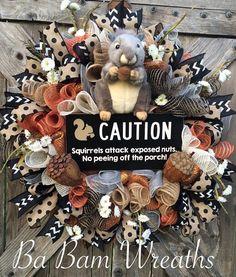 Fall Wreath Autumn Wreath Squirrel Wreath by BaBamWreaths on Etsy
